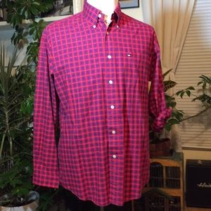 Tommy Hilfiger Red/Navy long sleeve ButtonUp Shirt
